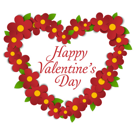 flower heart: Vector - Flower Heart Bouquet Spring Background Illustration