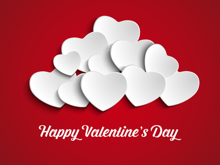 red balloons: Vector - Valentines Day Heart Balloons on Red Background