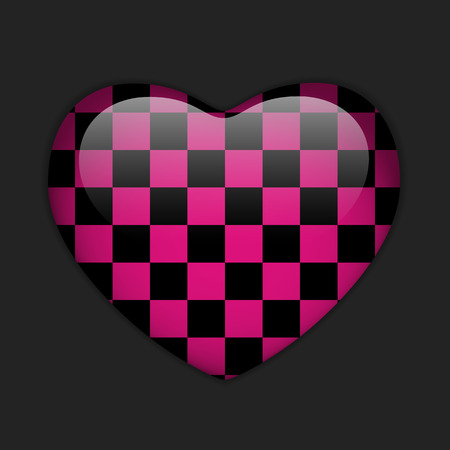 Vector - Valentines Day Glossy Emo Heart. Pink and Black Checkers
