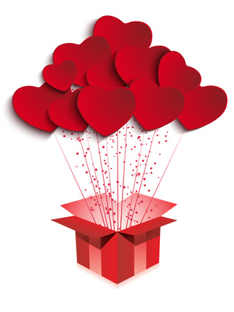 open gift box: Vector - Happy Valentines Day  Gift with Hearts
