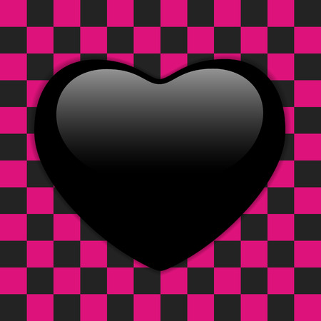 emo: Vector - Valentines Day Glossy Emo Heart. Pink and Black Checkers