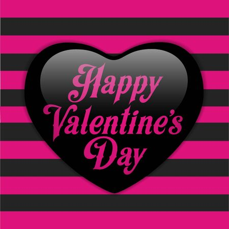 emo: Vector - Glossy Emo Heart. Pink and Black Stripes