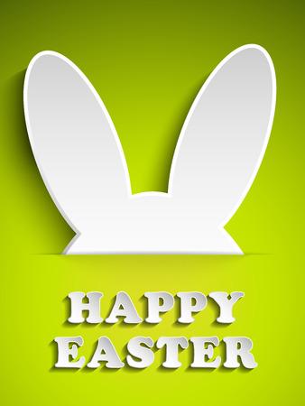 Vector - Happy Easter Rabbit Bunny on Green Background