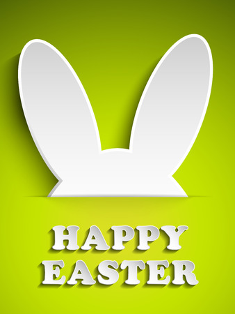 bunny ears: Vector - Happy Easter Rabbit Bunny on Green Background