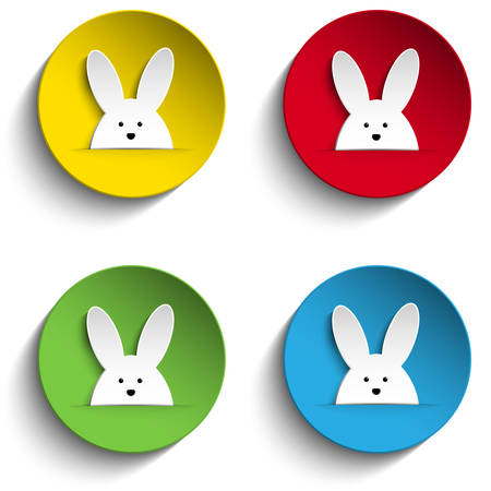 Set of Four Happy Easter Bunny Stickers Vector