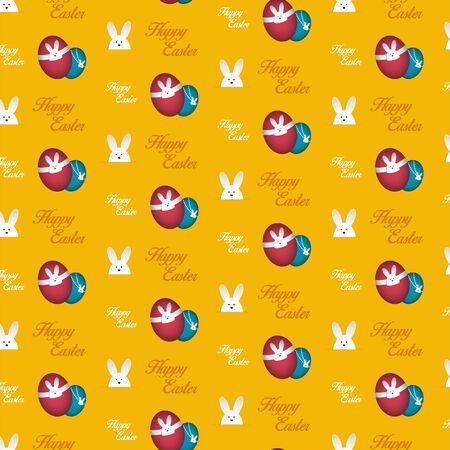 Happy Easter Rabbit Bunny Orange Seamless Background Vector