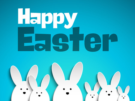 easter card: Happy Easter Rabbit Bunny on Blue Background