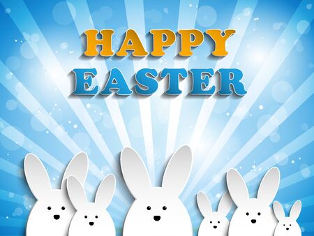 easter bunny: Vector - Happy Easter Rabbit Bunny on Blue Background