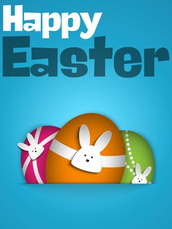 cute animals: Vector - Happy Easter Rabbit Bunny on Blue Background