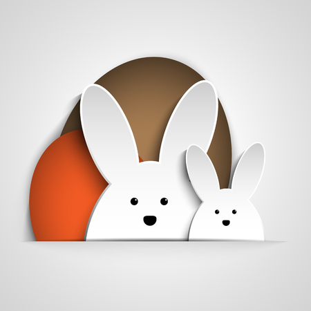 Vector - Happy Easter Rabbit Bunny on White Background Illustration