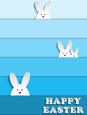 Vector - Happy Easter Rabbit Bunny on Blue Background Vector
