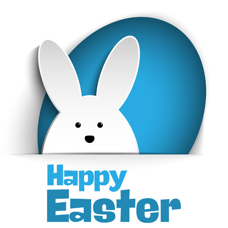 Vector - Happy Easter Rabbit Bunny on White Background 向量圖像