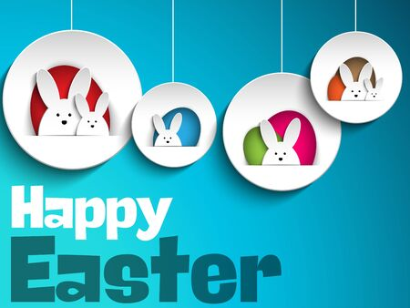 funny easter: Vector - Happy Easter Rabbit Bunny on Blue Background