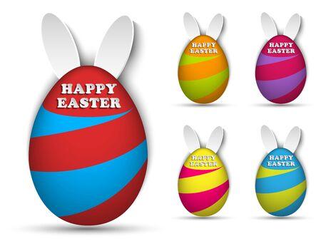 Vector - Happy Easter Rabbit Bunny Easter Egg Set Vector