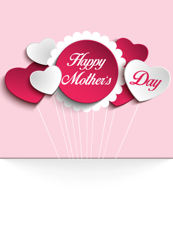 mother's: Vector - Happy Mother Day Heart Tag Background