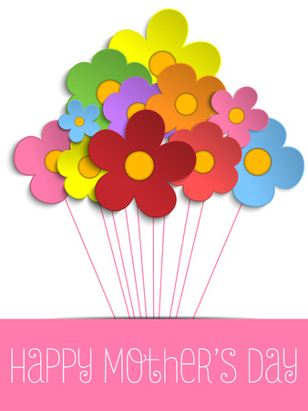 circle flower: Vector - Happy Mothers Day Card with Flowers
