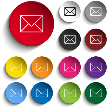 contact icon set: Vector Mail Envelope Icon Circle Color Set Illustration