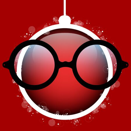 red ball: Vector Merry Christmas Red Ball with Glasses