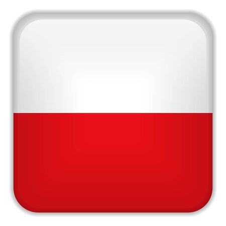 poland flag: Vector - Poland Flag Smartphone Application Square Buttons Illustration