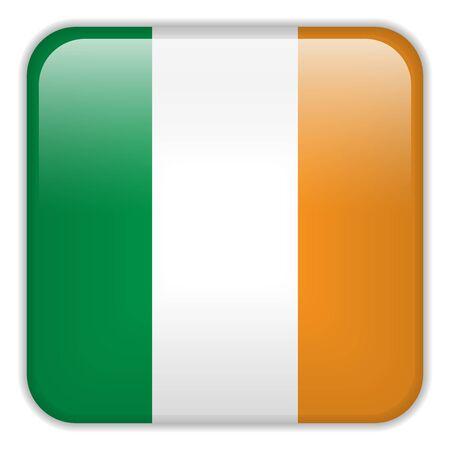 bandera de irlanda: Vector - Bandera Smartphone Irlanda Square Aplicaci�n Botones Vectores
