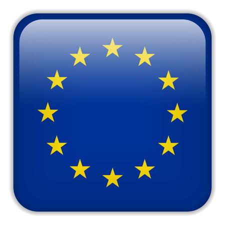 ベクトル - ヨーロッパ フラグ スマート フォン アプリケーション広場ボタン  イラスト・ベクター素材