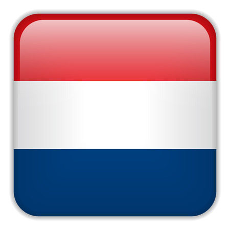 square buttons: Vector - Netherlands Flag Smartphone Application Square Buttons Illustration