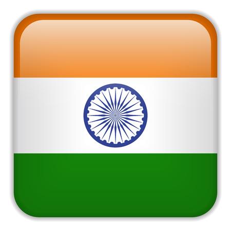 bandera de la india: Vector - Bandera de la India Smartphone Square Aplicaci�n Botones