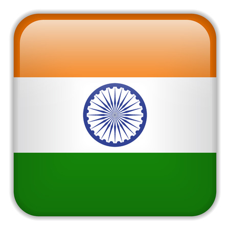 square buttons: Vector - India Flag Smartphone Application Square Buttons Illustration