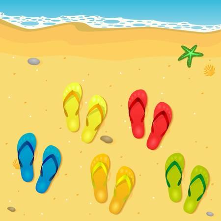 sandal: flip flops on the beach Illustration