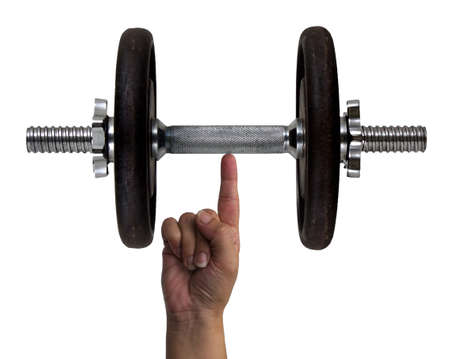 heavy weight: Dumbbell on a finger Stock Photo