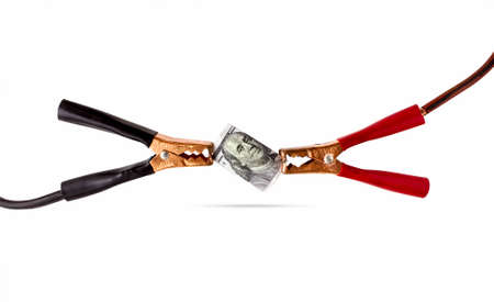 Money cable power energy white background dollar