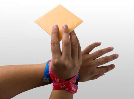 signify: Hands signify refraining from unhealthy food  Stock Photo