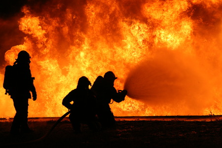 brigade: Firefighting training Stock Photo