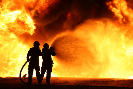 Firefighting training Stock Photo