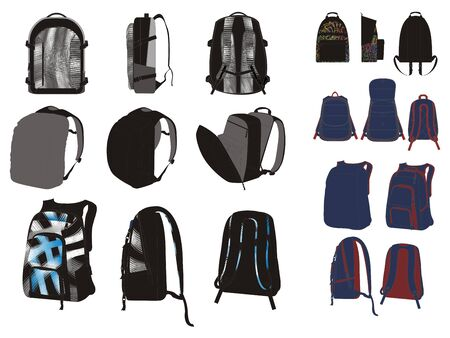 back pack set theme Vector