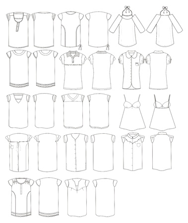fashion ladies apparel outline compilation