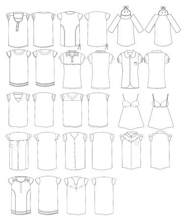 fashion ladies apparel outline compilation