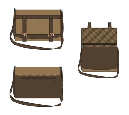 template of bag brown light Vector