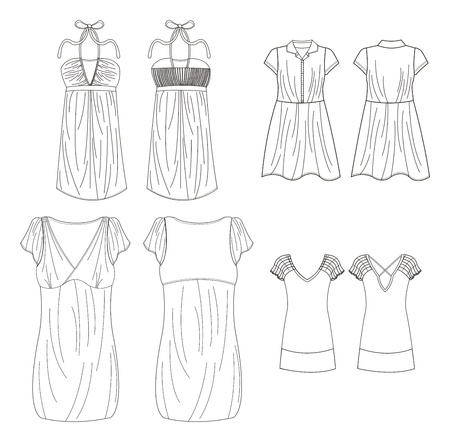 apparel set art curve Vector