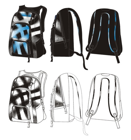 bag template backpack Vector