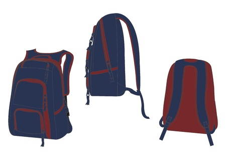 bag template red blue Vector