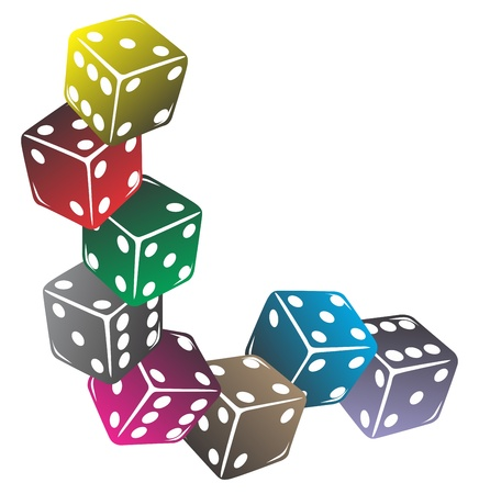 dices: colorful dice Illustration