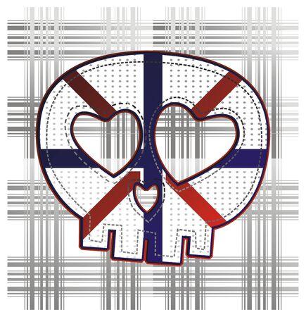 quartered: retro fine art skull flag Illustration