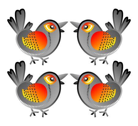 quartered: retro design bird Illustration