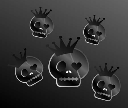 quartered: retro design dark skull Illustration