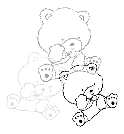 bear sweet line Vector