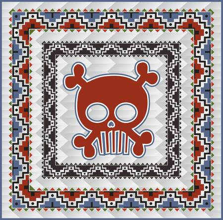 skull art indian Vector