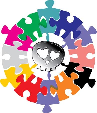 skull full art puzzle Stock Vector - 15982591