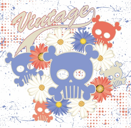 skull full art flower Vector