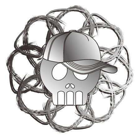 art skull of grey Stock Vector - 15982615